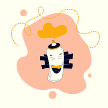 Spray Paint Can Laughing. Smiling Caracter Icon. Concept Of Emotions. Trendy Flat Style With Curved Dotted Lines. Vector Illustration For Emoji, Stickers And Any Other Purpose. Trendy Colors.