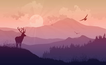 Mountain Landscape With A Deer...
