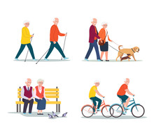 Isolated Set Of Senior Woman And Man Walking, Riding A Bicycle, Sitting On Bench. Vector Flat Illustration.