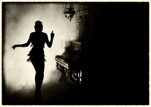 Old Fashioned Photography. Dark Mysterious Silhouette Retro Woman Style Great Gatsby. Girl Dancing In Short Dress Fashion Old 1920s, Backdrop Room Piano Candle Full Smoke. Free Space For Invite Text