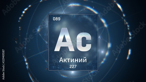 3D illustration of Actinium as Element 89 of the Periodic Table Canvas Print