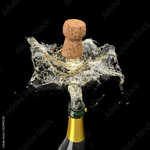 Obraz 3d render of a bottle of champagne that is uncorked - fototapety do salonu