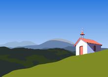 Small Rural Church In Mountain...
