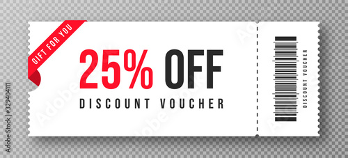 Fotomural Discount voucher, gift coupon template with ruffle edges