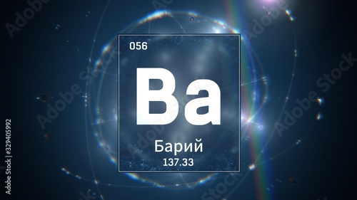 Photo 3D illustration of Barium as Element 56 of the Periodic Table