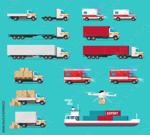 Fotomural Delivery transportation cargo vehicles set or freight transport automobiles and