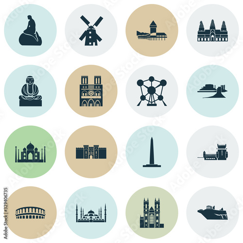 History icons set with great buddha, washington monument, atomium and other medieval tower elements Canvas Print