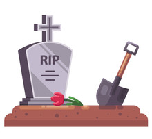 Fresh Grave With Stove And Chr...