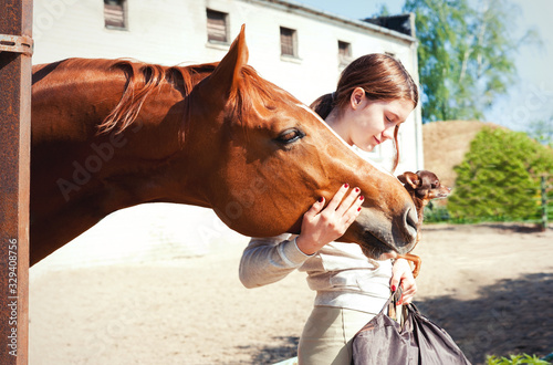 Fototapeta My Best friends. Redhead girl with her dog and horse. obraz