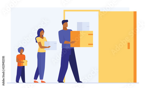 Fototapeta Family carrying stuff to new apartment. Couple with kids moving to new house flat vector illustration. Real estate, mortgage, property buying concept for banner, website design or landing web page obraz