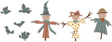 Childish Scarecrow And Birds S...