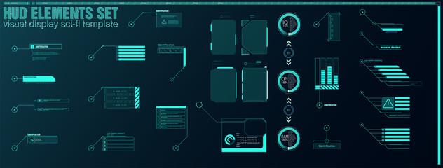 Futuristic Vector HUD Interface Screen Design. Digital callouts titles. HUD UI GUI futuristic user interface screen elements set. High tech screen for video game. Sci-fi concept design.