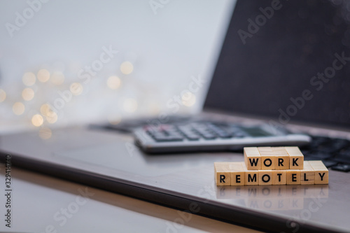 Work Remotely concept to suggest working anywhere anytime with laptop and glasse Canvas Print