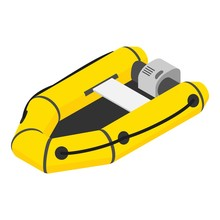 Inflatable Motor Boat Icon. Is...