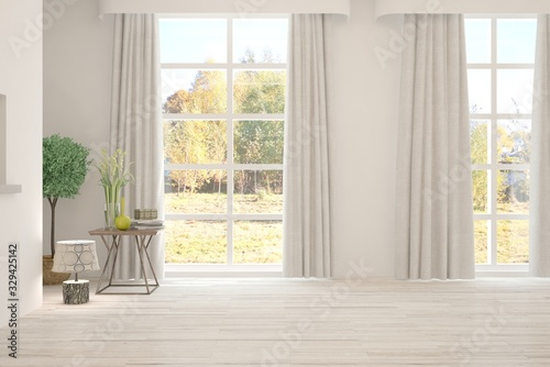 obraz dibond Stylish empty room in white color with autumn landscape in window. Scandinavian interior design. 3D illustration