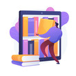 Ebooks collection. Library archive, e reading, literature. Male cartoon character loading books in ereader. Man putting novels in covers on bookshelf. Vector isolated concept metaphor illustration.