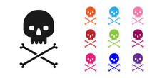 Black Skull On Crossbones Icon...