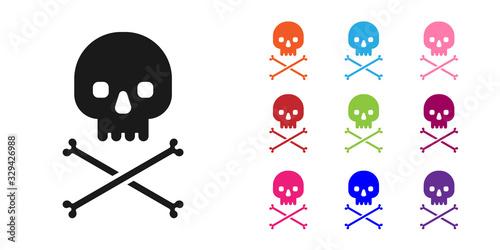 Платно Black Skull on crossbones icon isolated on white background