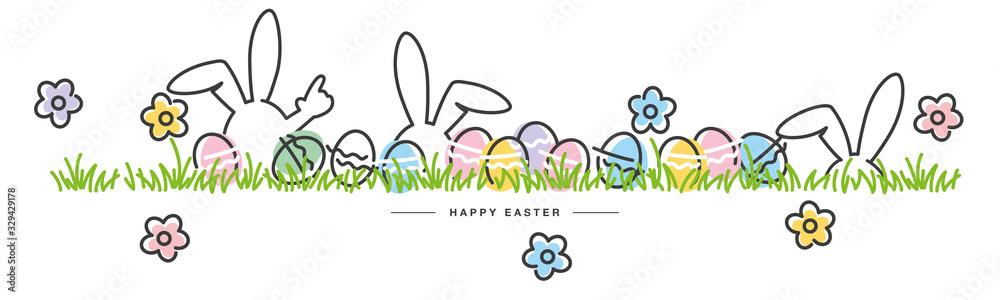 Fototapeta Easter line design bunny flowers colorful eggs in grass Easter egg hunt white greeting card