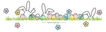Easter Line Design Bunny Flowe...