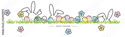 Easter line design bunny flowers colorful eggs in grass Easter egg hunt white gr Canvas Print