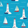 Vector pattern with sailboats and lighthouse large