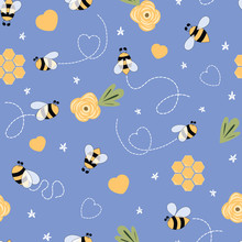 Kids Bee Seamless Pattern In Violet Background Cute Cartoon Doodle Bees, Flowers, Honey, Hearts Lovely Vector Print