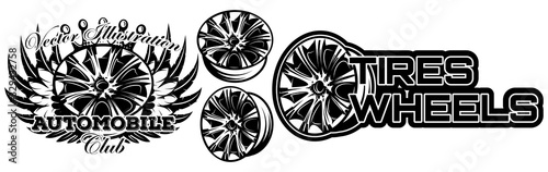 Cuadros en Lienzo Vector monochrome illustration of set of wheel car drive