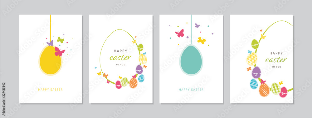 Fototapeta Easter cards set with hand drawn hangings eggs, butterflies and dots. Doodles and sketches vector vintage illustrations, DIN A6.
