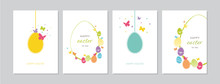 Easter Cards Set With Hand Dra...
