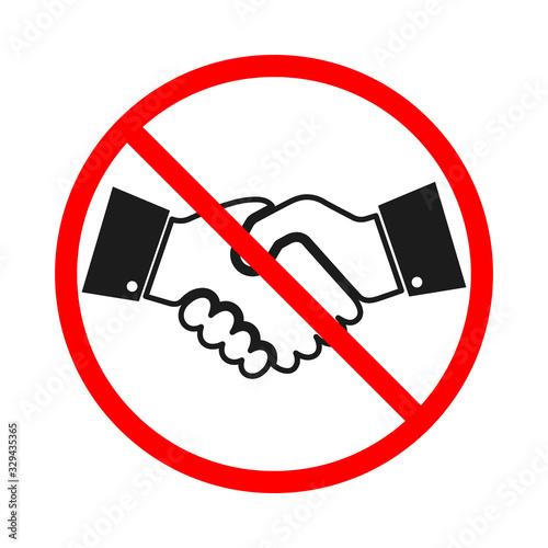 Photo Handshake ban icon isolated. Handshake forbidden