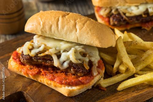 Fototapeta Homemade Italian Cudighi Sausage Sandwich obraz