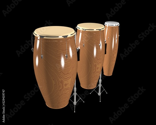 Photo 3d illustration of conga drum used for dance and music.