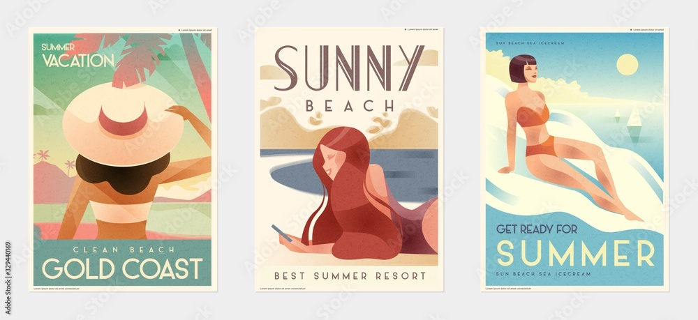 Fototapeta Retro Design Summer Holiday and Summer Camp poster. Girl relaxing on the beach. Vector