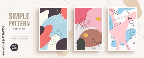 Obraz Set of trendy fashion cover templates. Hand Drawn textures. Design for poster, card, invitation, placard, brochure, flyer. Vector - fototapety do salonu