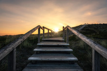 Climbing Wooden Stairs On Sylt...