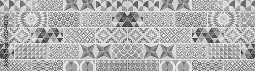 Fotomural Gray black white vintage retro geometric square mosaic motif tiles texture backg