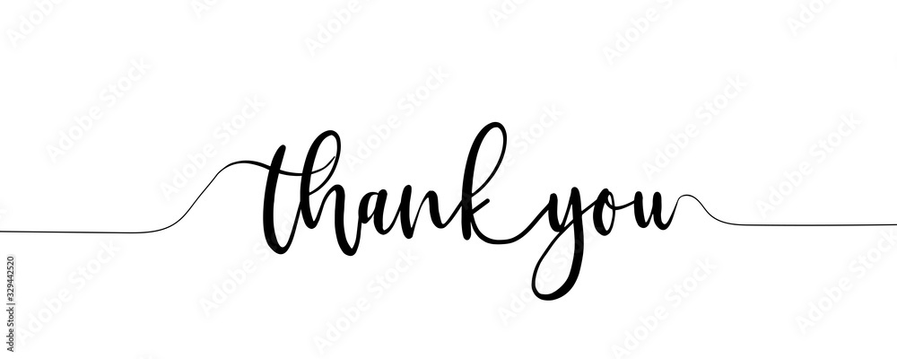 Fototapeta Thank You Hand Lettering. Typography Design Inspiration. Black colored. On a white background. Vector