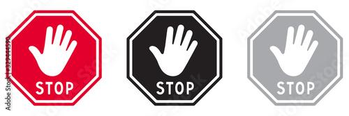 Obraz na plátně PANNEAU STOP AVEC MAIN