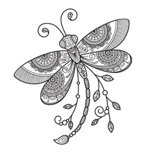 Vector Dragonfly Antistress Doodle Coloring Book Page For Adult. Insect Black And White Illustration.