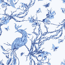 Seamless Chinoiserie Pattern With Bird, Flowers And Butterflies. Vector Patch For Print, Fabric And Interior Design