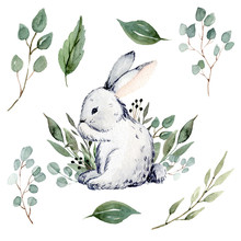 Cute Happy Watercolor Easter Bunny And Leaves