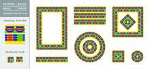 National Egypt Pattern Number 18. Ornament Shapes. Brush Band Motive, Typographical Frame, Rectangular Frame, Square Frame With Round Frame And Symmetrical Tile.