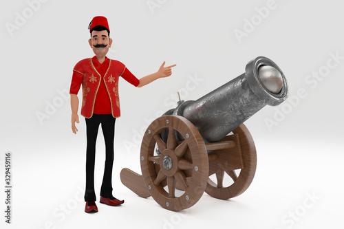 Obraz na plátne 3d ramadan cannon gun isolated