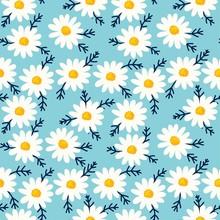 Daisy Seamless Pattern On Blue...