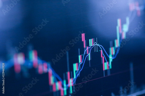 Obraz Stock exchange market chart, Stock market data on LED display. Business analysis concept. - fototapety do salonu
