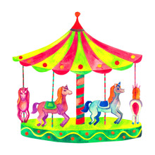 Bright Carousel With Horses.Wa...