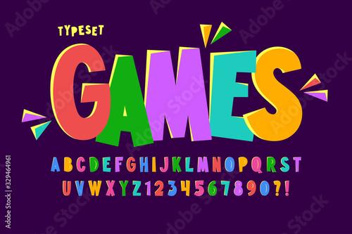 Fototapeta Trendy comical condensed alphabet design, colorful, typeface. obraz