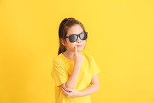 Funny Little Girl With Sunglas...