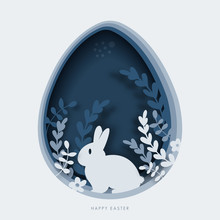 Happy Easter Greeting Card Template. Paper Cut Illustration Of Easter Rabbit, Grass, Flowers And Blue Egg Shape.